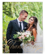 This is a gold wedding thank you card by Grace Kreinbrink called Classic Branches with foil-pressed printing on signature in standard.