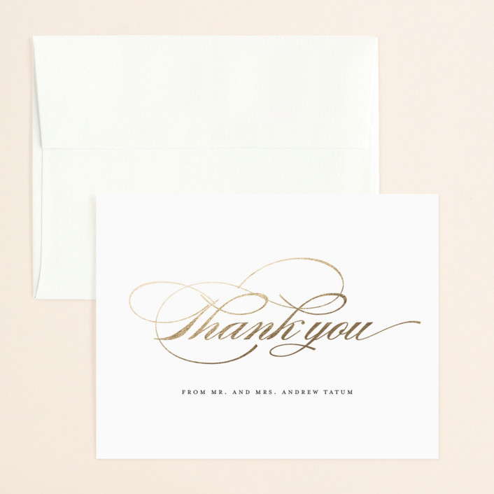 """""""Shimmering Faux Bois"""" - Rustic, Bohemian Foil-pressed Thank You Card in Gold by Fig and Cotton."""
