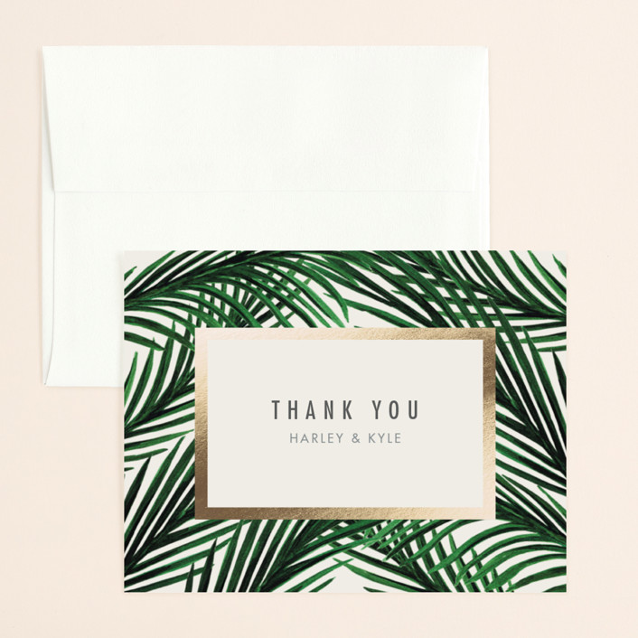 """""""Tropical Love"""" - Foil-pressed Thank You Card in Ivory by Elly."""
