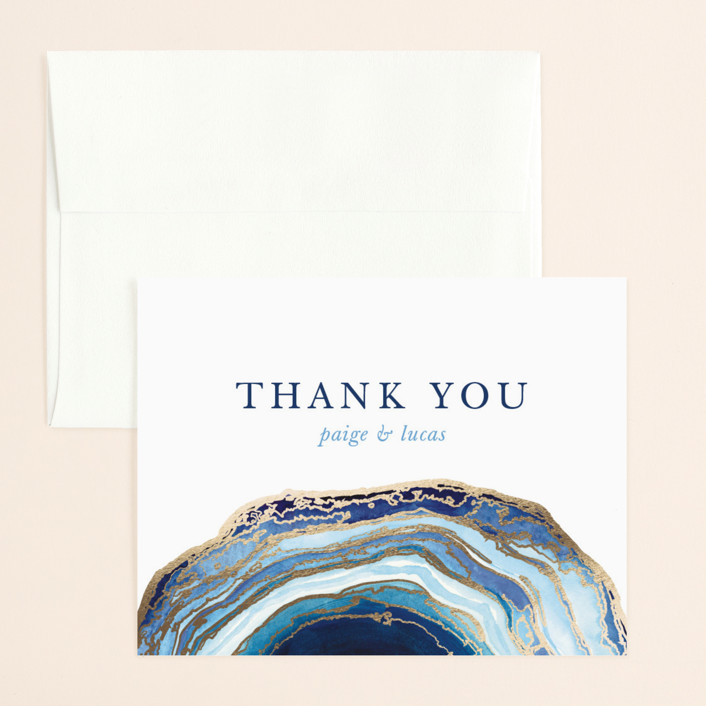 """""""Gilt Agate"""" - Bohemian, Rustic Foil-pressed Thank You Card in Navy by Kaydi Bishop."""