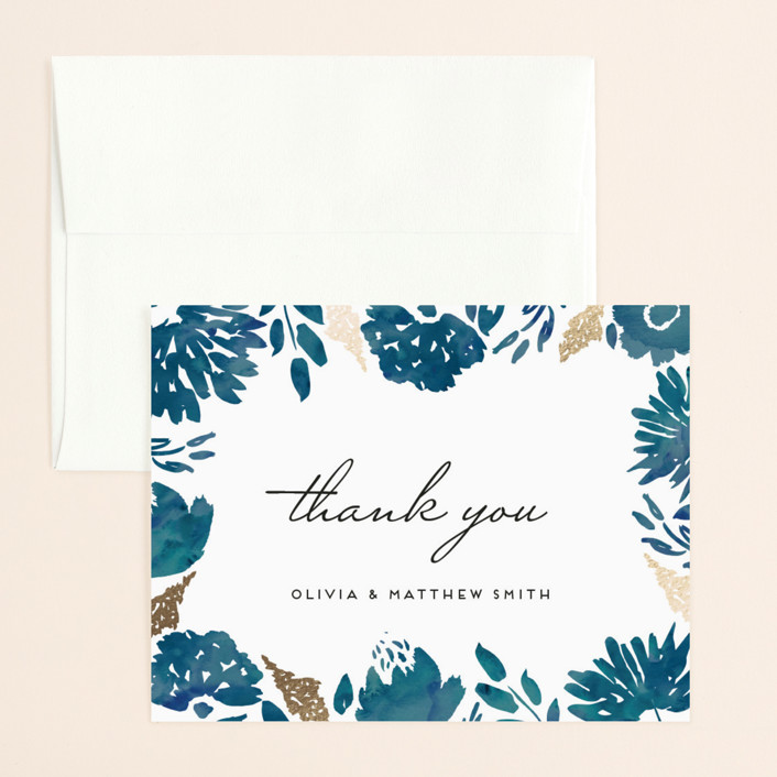 """Watercolor Delight"" - Floral & Botanical Foil-pressed Thank You Card in Indigo by Petra Kern."