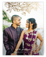 This is a gold wedding thank you card by Rochelle Renee called Gilded Wildflowers with foil-pressed printing on signature in standard.