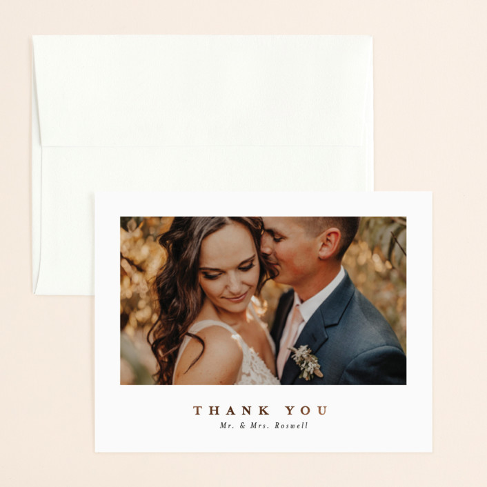 """Ethereal Romance"" - Modern Foil-pressed Thank You Card in Stone by Bonjour Berry."