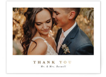 This is a grey wedding thank you card by Corinne Malesic called Ethereal Romance with foil-pressed printing on signature in standard.