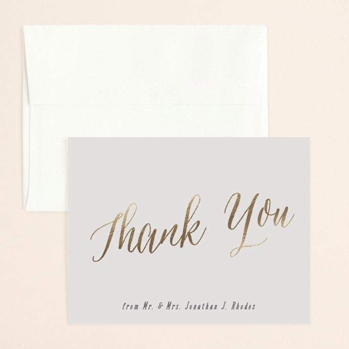 """Garden Lights"" - Rustic Foil-pressed Thank You Card in Plum by Hooray Creative."