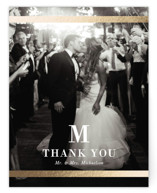 This is a white wedding thank you card by Stacey Meacham called Classic Monogram with foil-pressed printing on signature in standard.