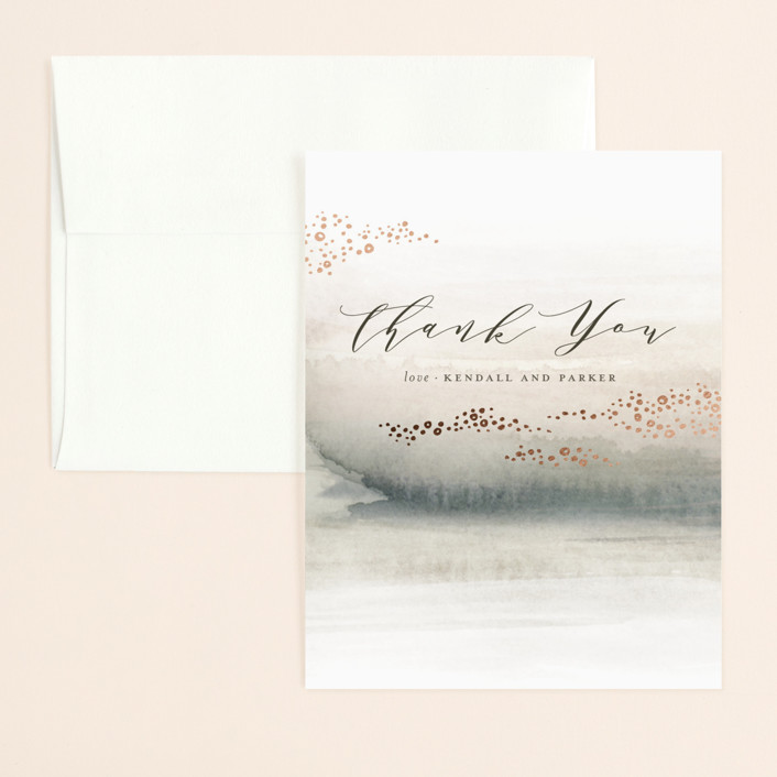 """OCEANS"" - Foil-pressed Thank You Card in Ocean by Wildfield Paper Co.."