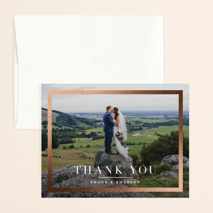 """""""Bold Classic"""" - Foil-pressed Thank You Card in Gold by Jessica Williams."""