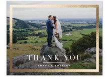 This is a gold wedding thank you card by Jessica Williams called Bold Classic with foil-pressed printing on signature in standard.