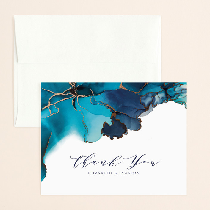 """""""Modern Tide Pools"""" - Modern Foil-pressed Thank You Card in Turquoise by Erin Deegan."""