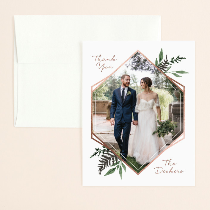 """""""Shade Garden"""" - Foil-pressed Thank You Card in Leaf by Robin Ott."""