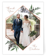 This is a green wedding thank you card by Robin Ott called Shade Garden with foil-pressed printing on signature in standard.