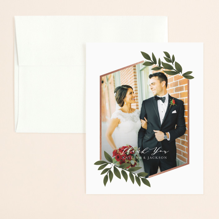 """""""Laurels Frame"""" - Foil-pressed Thank You Card in Greenery by Itsy Belle Studio."""