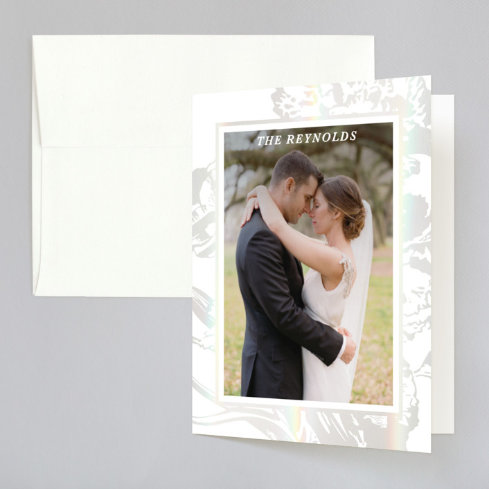 """""""Gilded Bloom"""" - Rustic Gloss-press™ Thank You Cards in Pearl by Christie Kelly."""