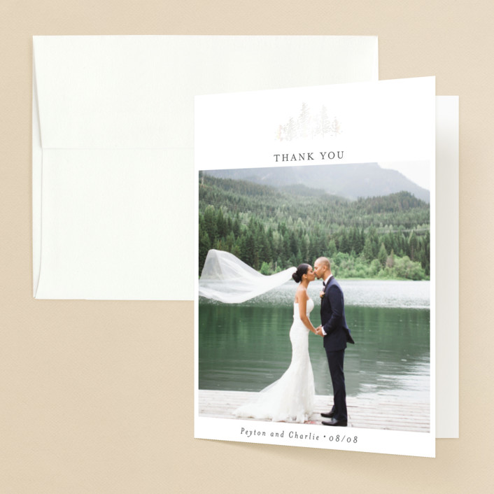 """""""Golden Pines"""" - Gloss-press™ Thank You Cards in Ivory by Bethan."""