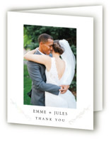 This is a white gloss press thank you card by Mere Paper called Metallic Branches with gloss-press printing on strathmore in standard.