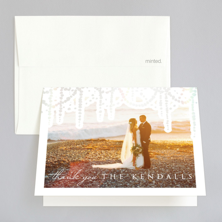 """""""Pearl Garland"""" - Bohemian Gloss-press™ Thank You Cards in Cloud by Julia Hall."""