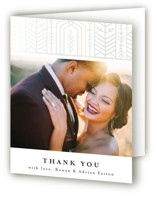 This is a brown wedding thank you card by Melanie Kosuge called ALEXA with gloss-press printing on strathmore in standard.