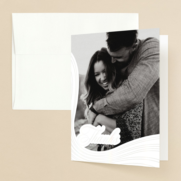 """""""Lined"""" - Modern Gloss-press™ Thank You Cards in Cloud by Erin Deegan."""
