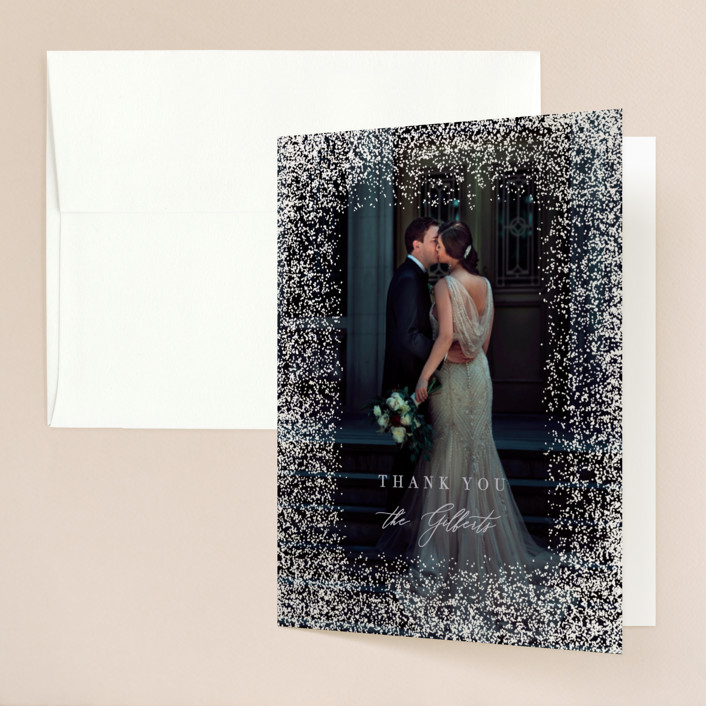 """""""Dusted"""" - Gloss-press™ Thank You Cards in Pale Ice by Everett Paper Goods."""