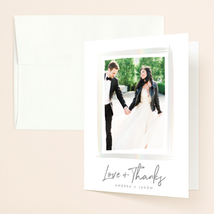 """""""Brushy frame"""" - Gloss-press™ Thank You Cards in Opal by Stacey Meacham."""