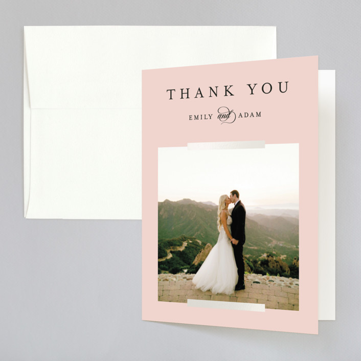 """""""Classic Bars"""" - Gloss-press™ Thank You Cards in Peachy by Kasia Labocki."""