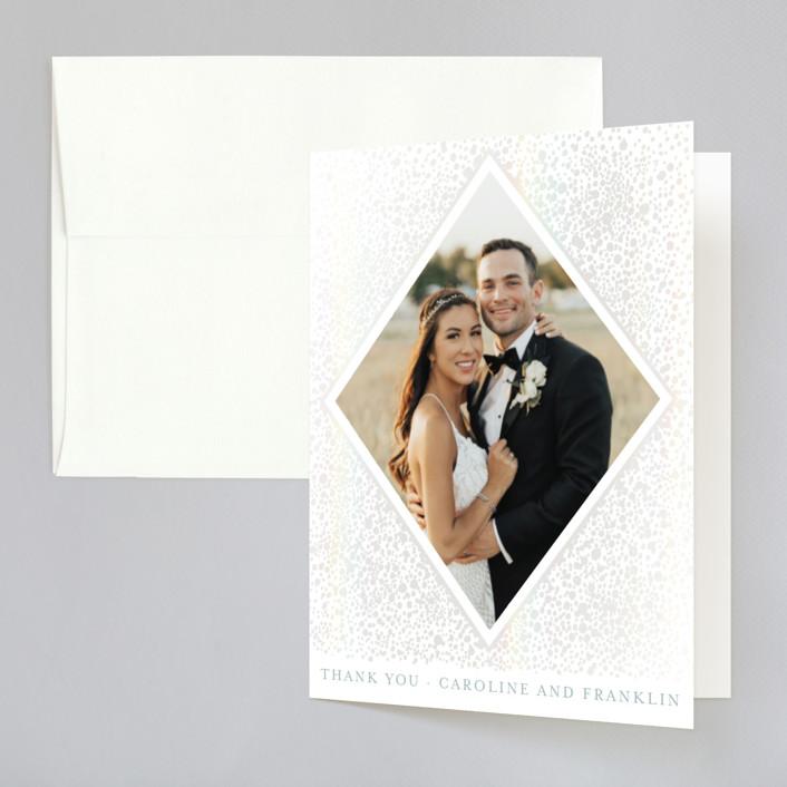 """Modern Elegance"" - Modern Gloss-press™ Thank You Cards in Opal by Alexandra Dzh."