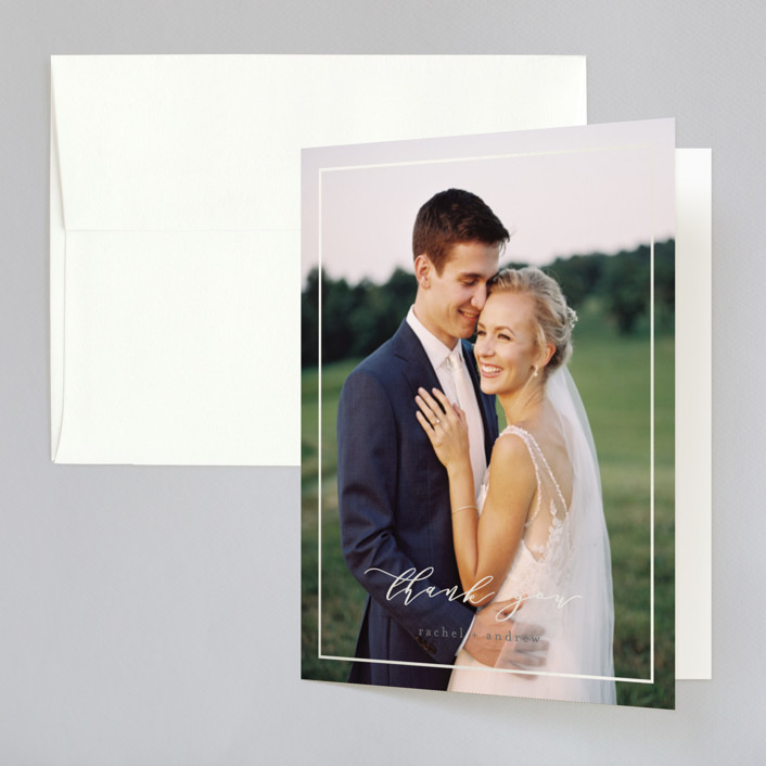 """""""Forever One"""" - Gloss-press™ Thank You Cards in Granite by Mansi Verma."""
