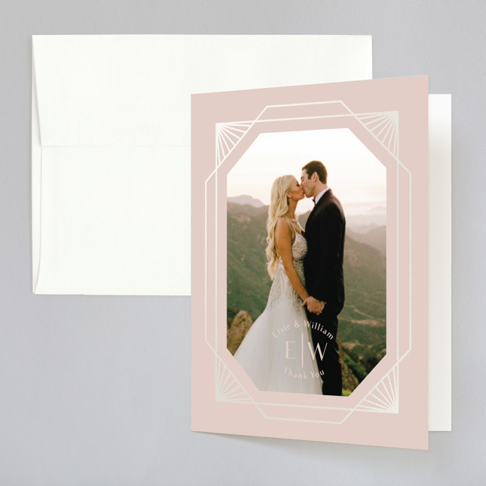 """""""Radiant Frame"""" - Gloss-press™ Thank You Cards in Shell Pink by Meggy Masters."""