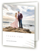 This is a white wedding thank you card by Pixel and Hank called Palm Vibes with gloss-press printing on strathmore in standard.