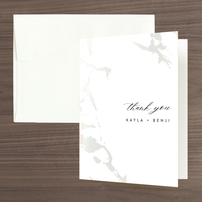 """Snowy Trails"" - Gloss-press™ Thank You Cards in Porcelain by Christie Garcia."