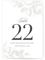 This is a grey table number by Design Lotus called Beloved with gloss-press printing on doublethick in standard.