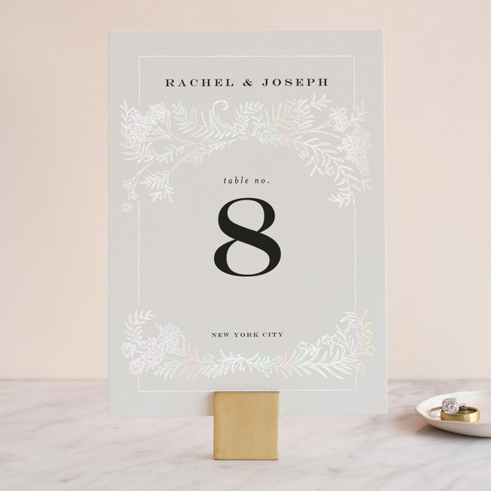 """""""Lacy Meadow Ovals"""" - Gloss-press™ Table Numbers in Gold Leaf by Shiny Penny Studio."""