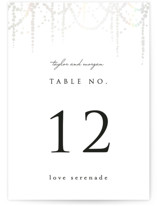 This is a black and white table number by Julia Hall called Pearl Garland with gloss-press printing on doublethick in standard.