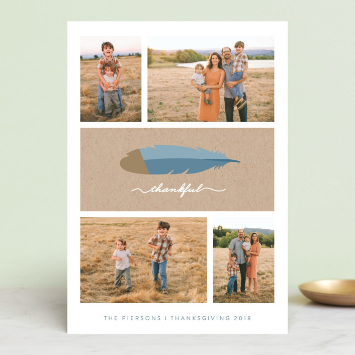 """Gilded Thanks"" - Classical, Simple Thanksgiving Petite Cards in Blue Slate by Sara Heilwagen."