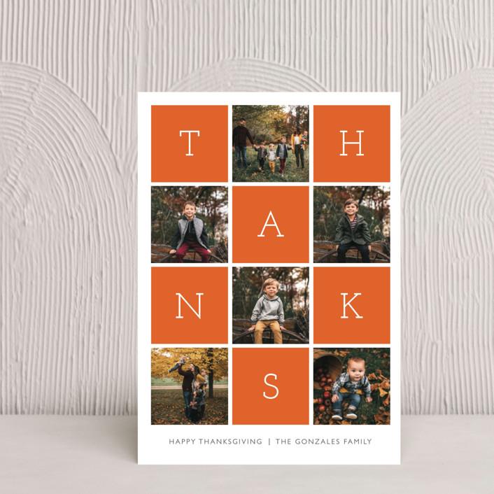"""Thanks Squared"" - Modern Thanksgiving Petite Cards in Sweet Potato by Waldo Press."