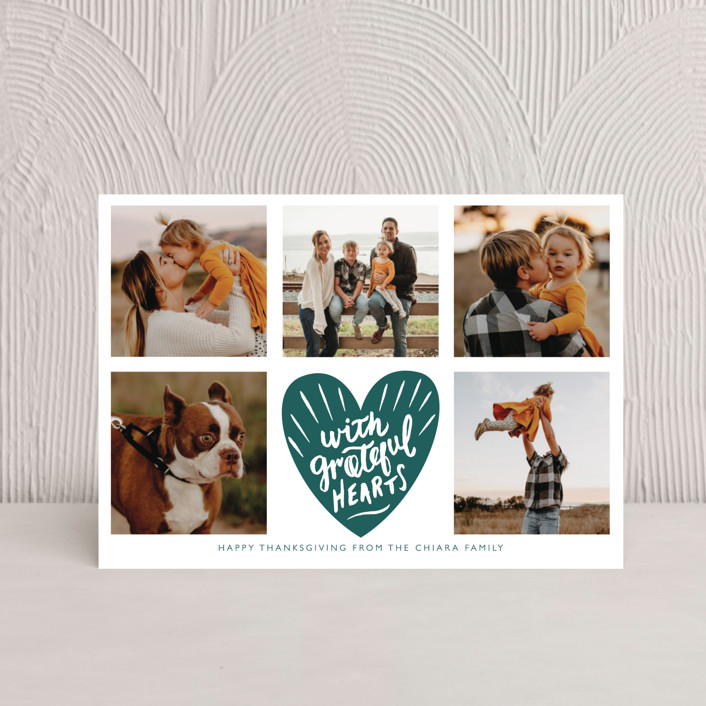 """""""With Grateful Hearts"""" - Bohemian Thanksgiving Petite Cards in Emerald by Eve Schultz."""