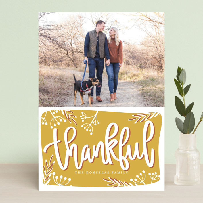 """Thankful Script"" - Thanksgiving Petite Cards in Golden by Faith Dorn."