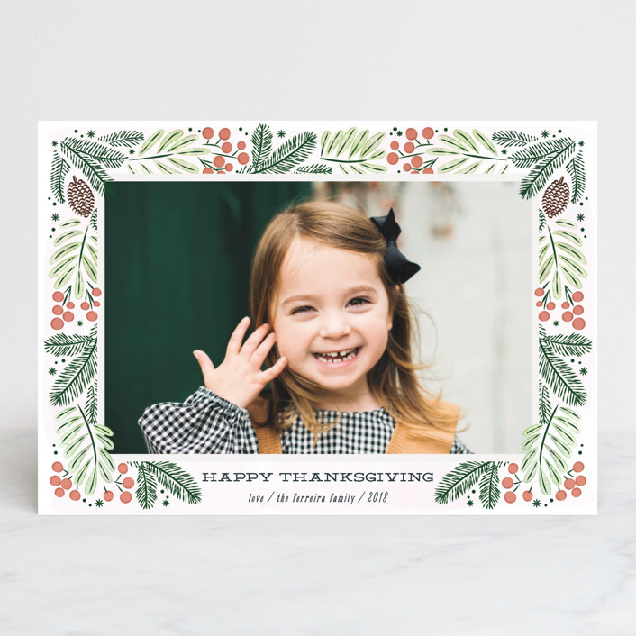 """""""Foliage wreath"""" - Thanksgiving Petite Cards in Persimmon by Ana de Sousa."""