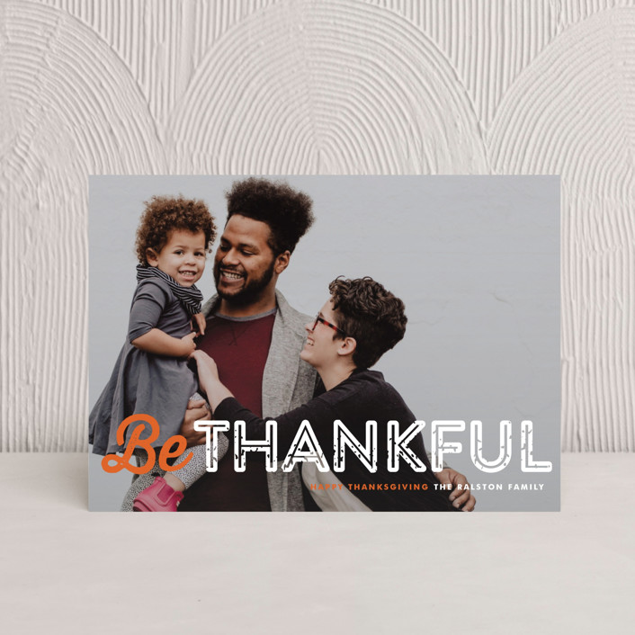"""""""Just Be"""" - Full-Bleed Photo Thanksgiving Petite Cards in Pumpkin Pie by Lauren Chism."""