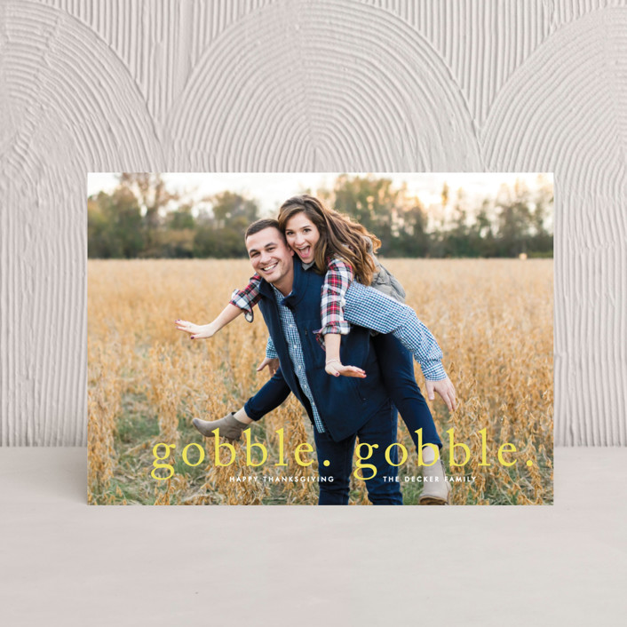 """""""Gobble Gobble"""" - Full-Bleed Photo Thanksgiving Petite Cards in Sunshine by Fig and Cotton."""