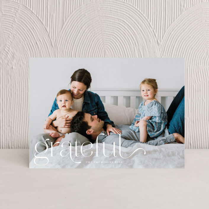 """""""We Are Grateful"""" - Thanksgiving Petite Cards in Pearl by Kristel Torralba."""