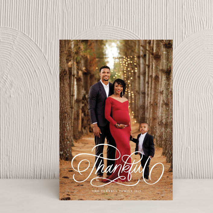 """""""Thankful Scripted"""" - Thanksgiving Petite Cards in Snow by Kristen Smith."""