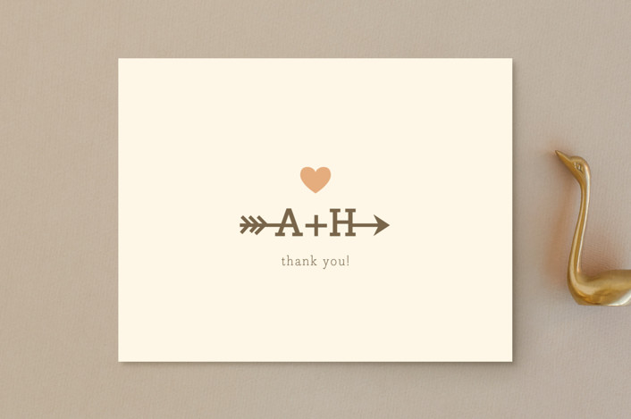 """""""Love Struck"""" - Whimsical & Funny Thank You Postcards in Pale Salmon Peach by The Social Type."""