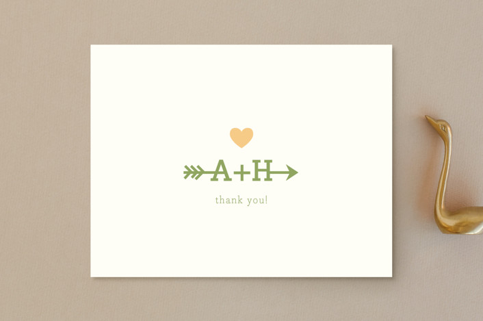 """Love Struck"" - Whimsical & Funny Thank You Postcards in Pale Salmon by The Social Type."