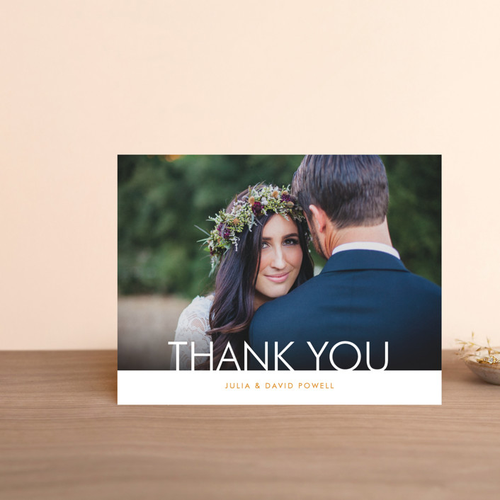 """Minimalist Display"" - Thank You Postcards in Orange by Coco and Ellie Design."