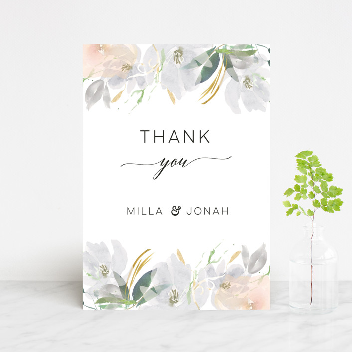 """Grande Botanique"" - Thank You Postcards in Mist by Bonjour Paper."