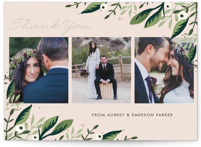 This is a green, pink Thank You Postcards by Oma N. Ramkhelawan called Paradise with printing on Signature in Flat Card format. A beautiful design featuring hand drawn lush greenery and botanicals that are perfect for your special day.