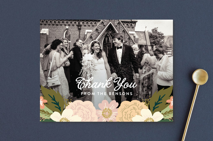 """Classic Floral"" - Thank You Postcards in Spring Blush by Alethea and Ruth."