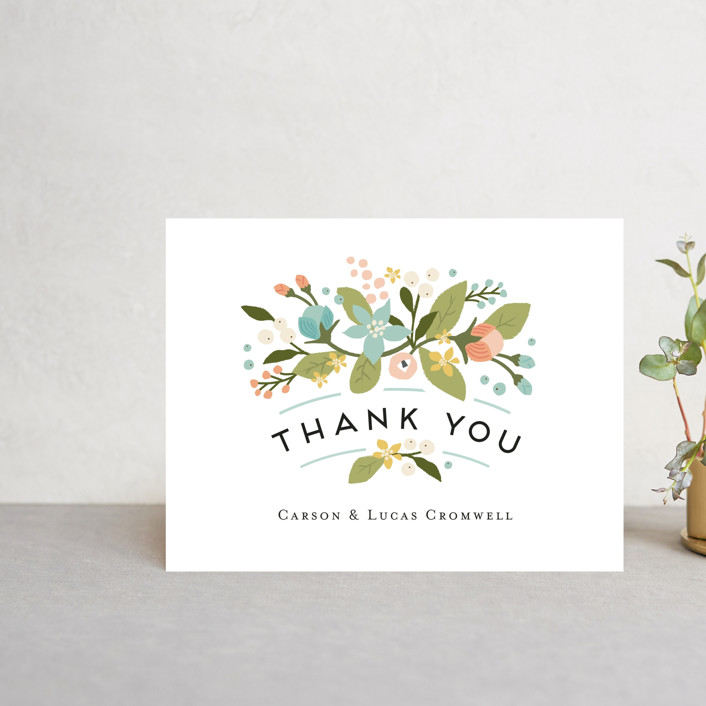 """Floral Ampersand"" - Rustic Thank You Postcards in Sea Breeze by Jennifer Wick."